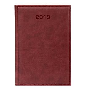 kalendarz książkowy a4 na 2019 kolor bordowy