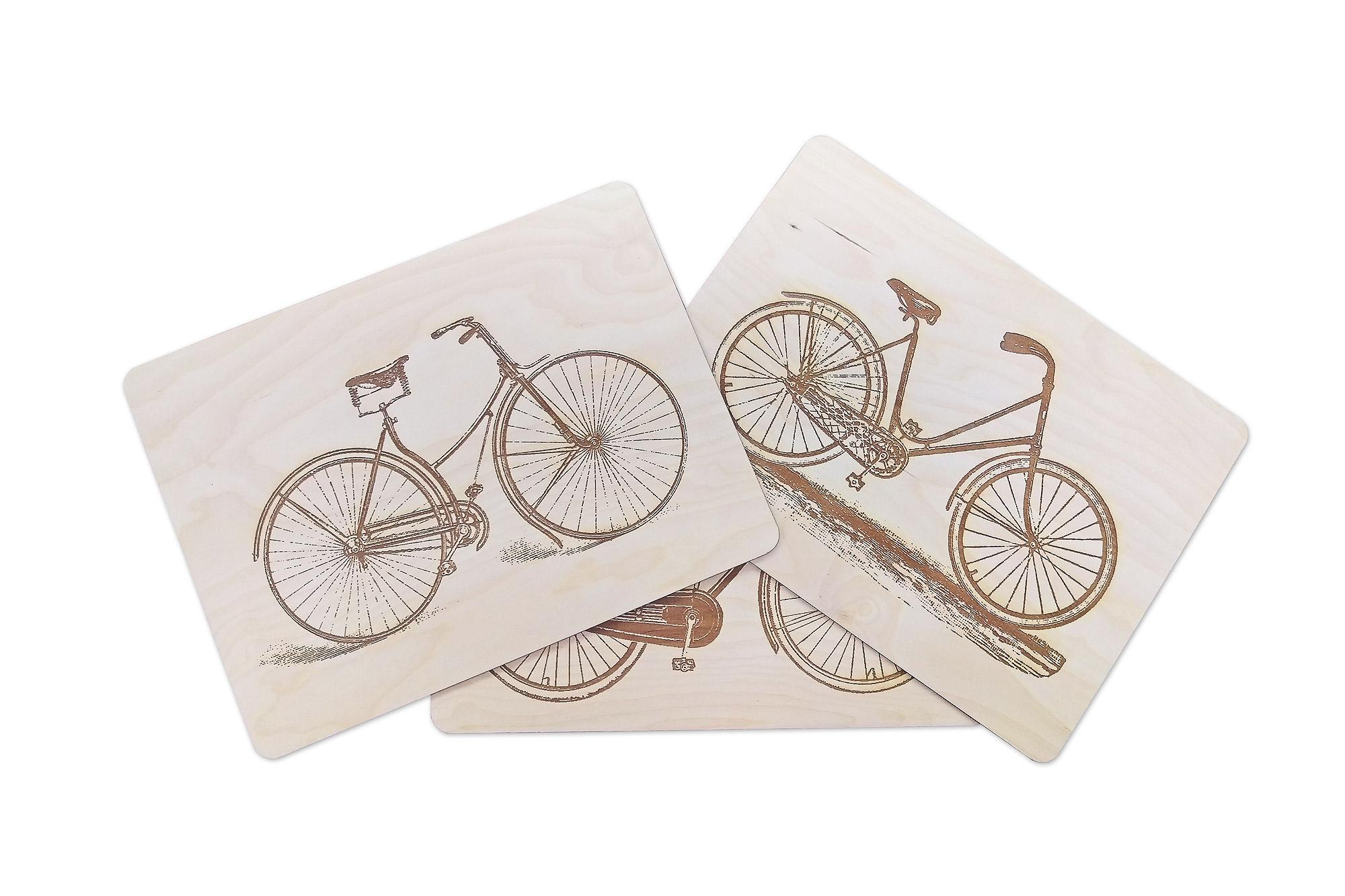 grawer na desce, grawerowana podkładka, rowery grawerowane, rowery holenderskie na drewnie