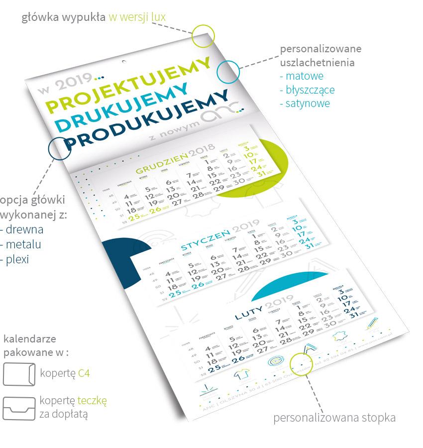 kalendarz trójdzielny firmowy na rok 2019