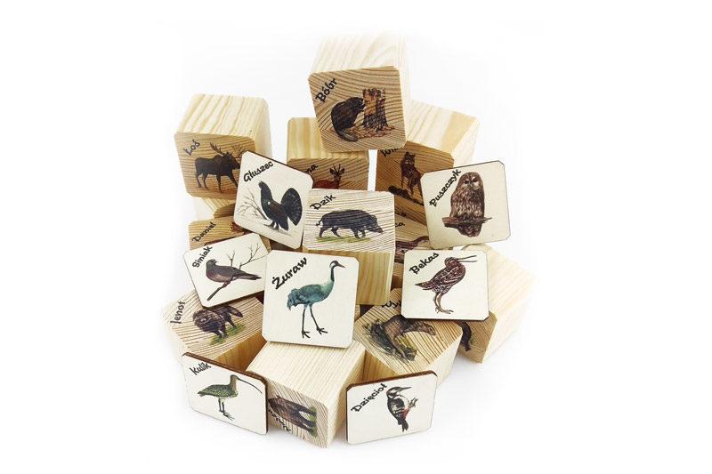 Drewniane klocki do zabawy, puzzle, druk na drewnie