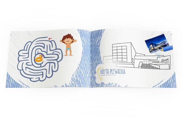 kolorowanka zagadki dla dzieci reklama basenu miasta