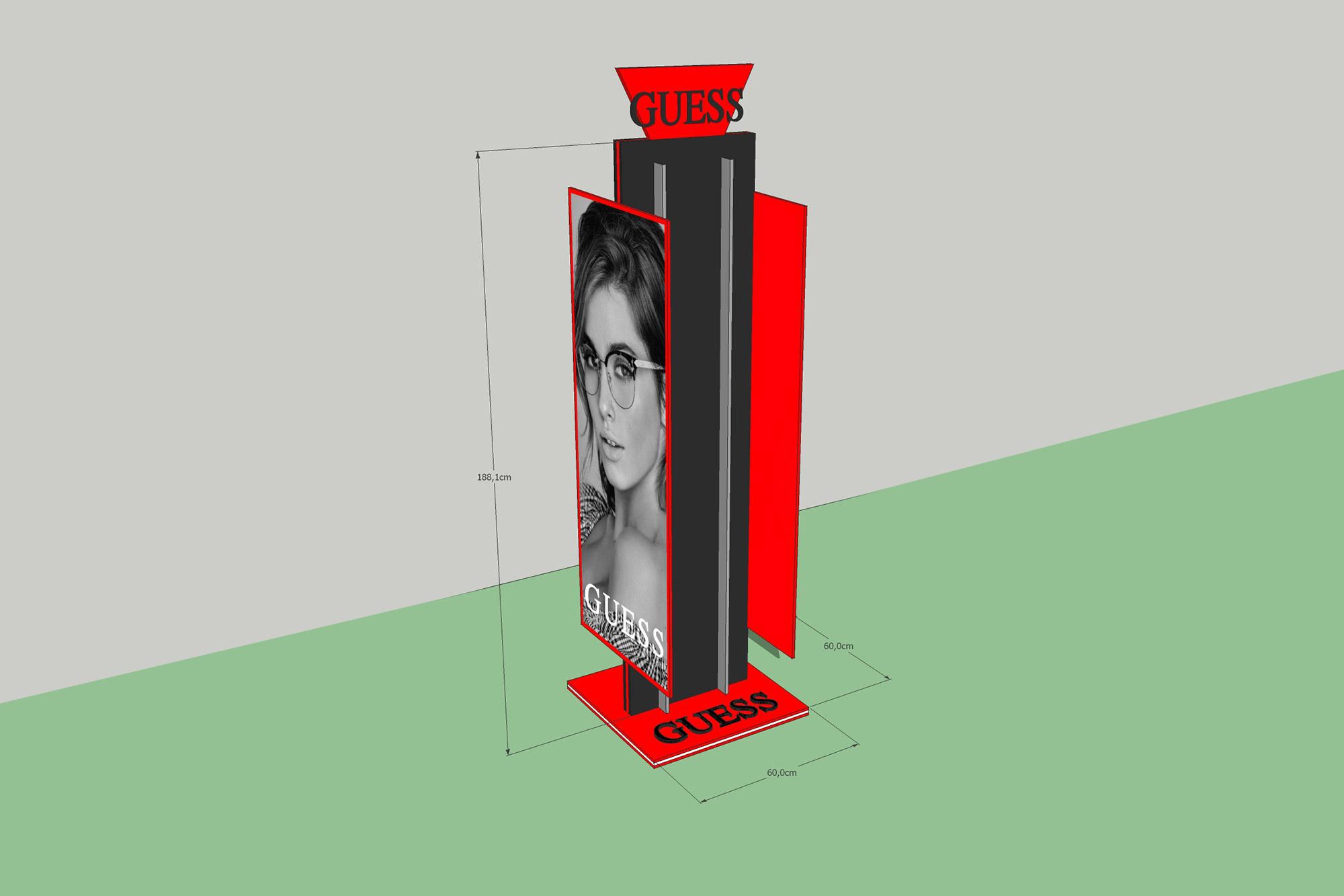 projekt stojaka reklamowaego, projektowanie ekspozytorów, projekt 3d stojaka, ekspozytor na okulary projekt