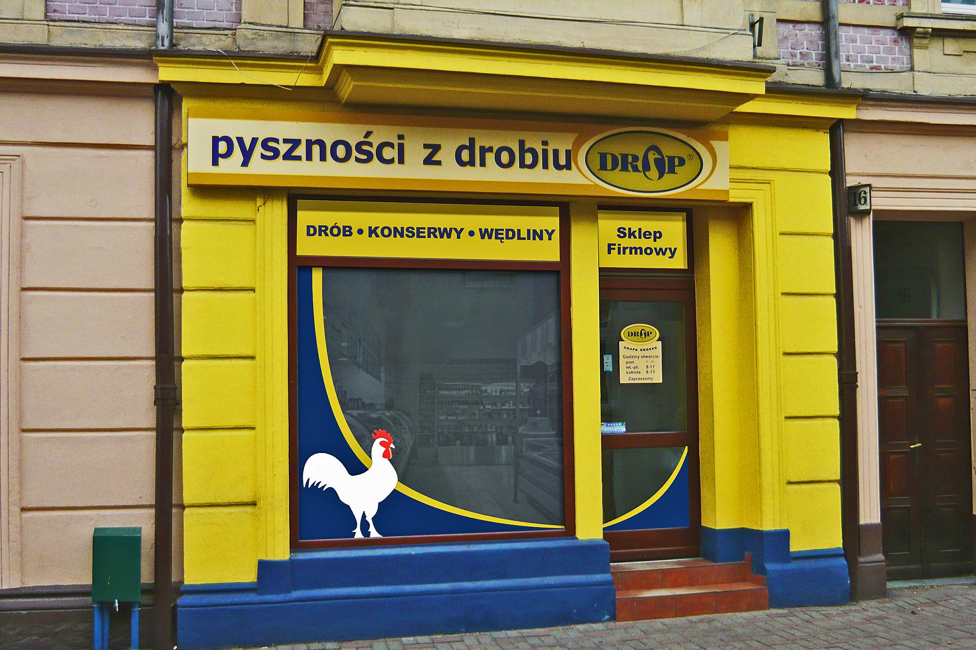 wyklejanie witryn sklepowych sieci sklepów drop