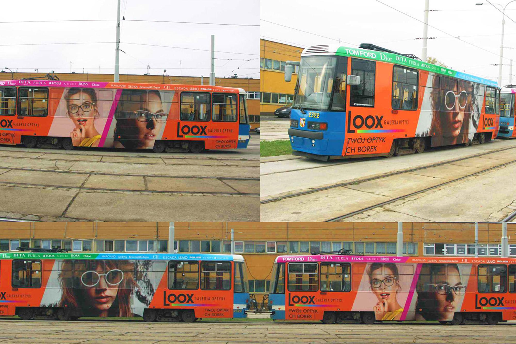 wydruk materiałów do oklejenia tramwaju