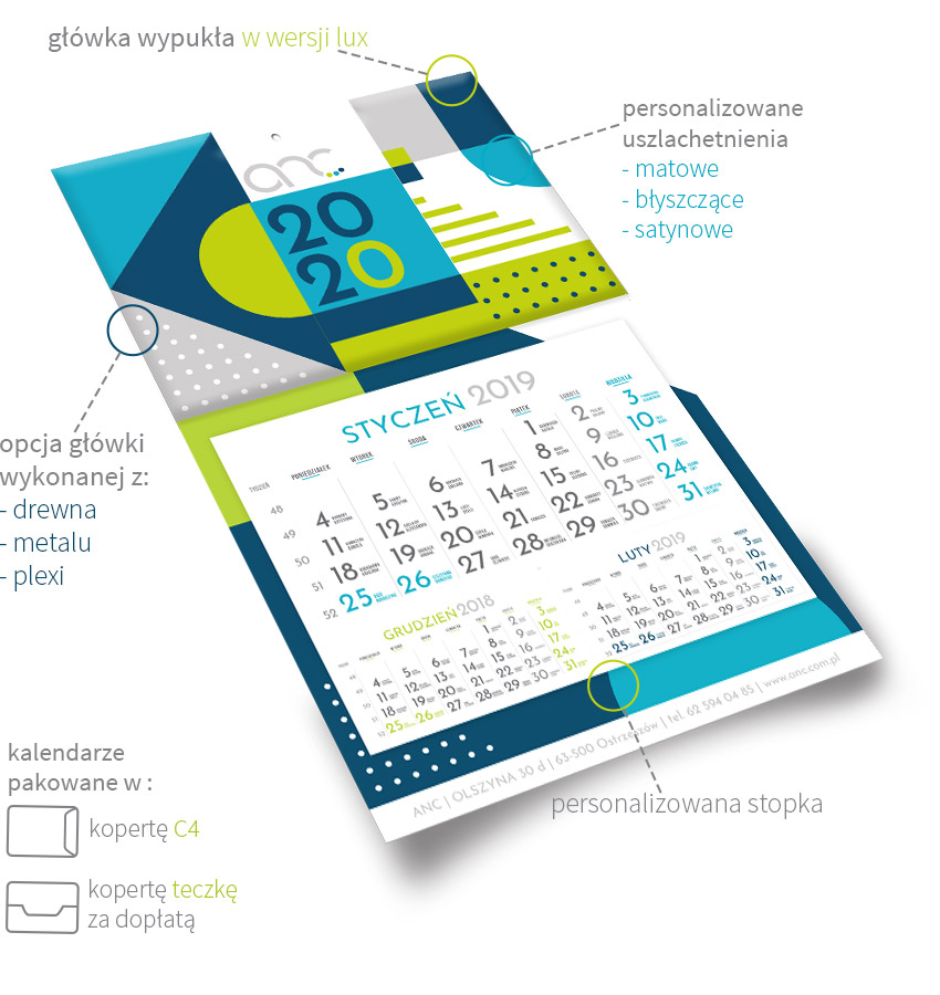 kalendarz ścienny jednodzielny 2020
